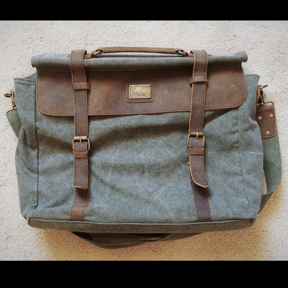 NIP MAXMIND Canvas and Leather Laptop Bag